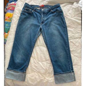 Zena Vintage Button Fly Wide-Cuffed Crop Jeans